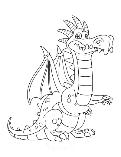 Dragon Coloring Pages Cute Toothy Dragon for Kids
