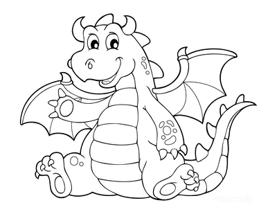 Dragon Coloring Pages Cute Waving Dragon for Kids