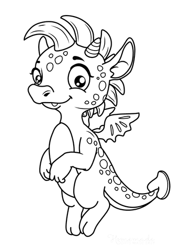 Dragon Coloring Pages Cute Wide Eyed Flying Dragon