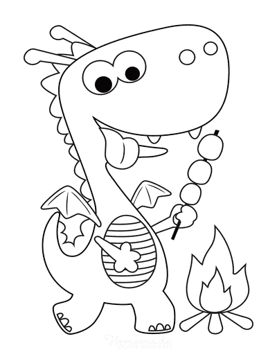 Dragon Coloring Pages Cute With Marshmallows Preschoolers