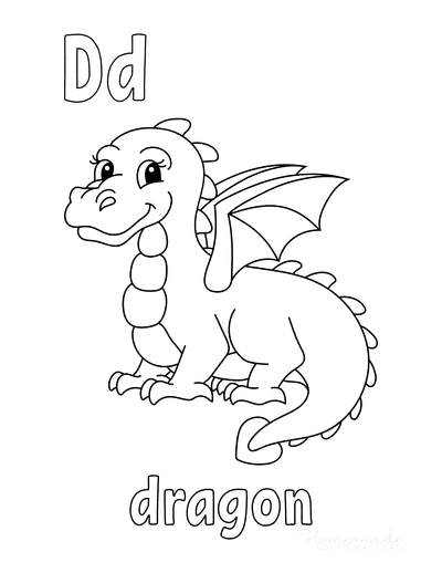 Dragon Coloring Pages D Is for Dragon Preschool