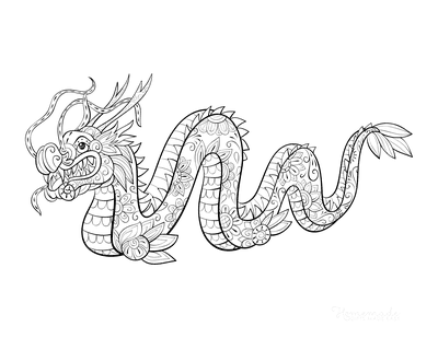 Dragon Coloring Pages Detailed Chinese Dragon for Adults