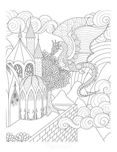 Dragon Coloring Pages Detailed Flying Dragon for Adults