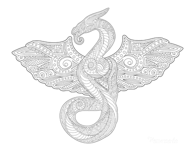 Dragon Coloring Pages Detailed Patterned Dragon for Adults