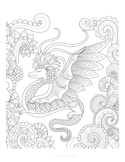 Dragon Coloring Pages Detailed Swirly Dragon for Adults