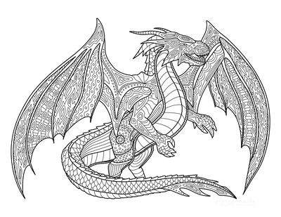 Dragon Coloring Pages Detailed Wings Open for Adults