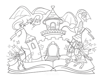 Dragon Coloring Pages Fairytale Knights Dragon Castle Scene