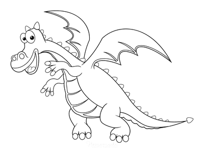 Dragon Coloring Pages Flying Dragon for Preschoolers