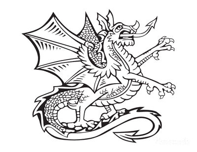 Dragon Coloring Pages Girl Heraldic Dragon Arrow Tongue Tail