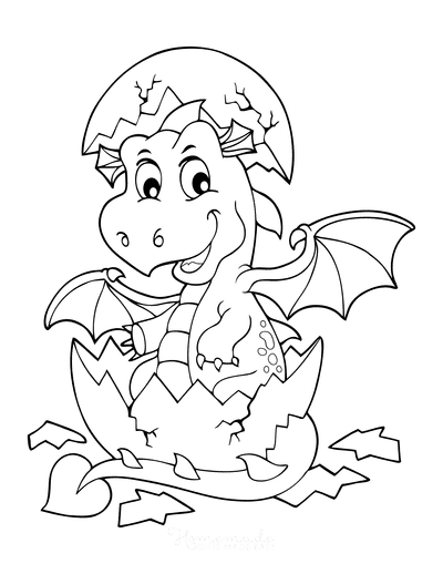 Dragon Coloring Pages Hatching From Egg