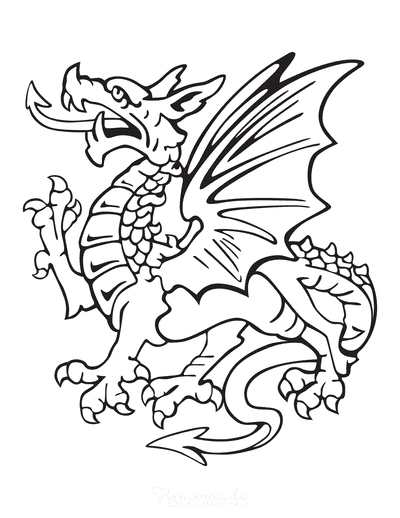 Dragon Coloring Pages Heraldic Dragon