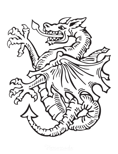 Dragon Coloring Pages Heraldic Wyvern