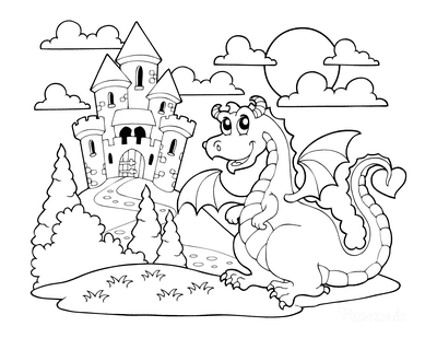 Dragon Coloring Pages Horned Dragon Near Castle Cartoon