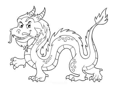 Dragon Coloring Pages Horned Fire Dragon