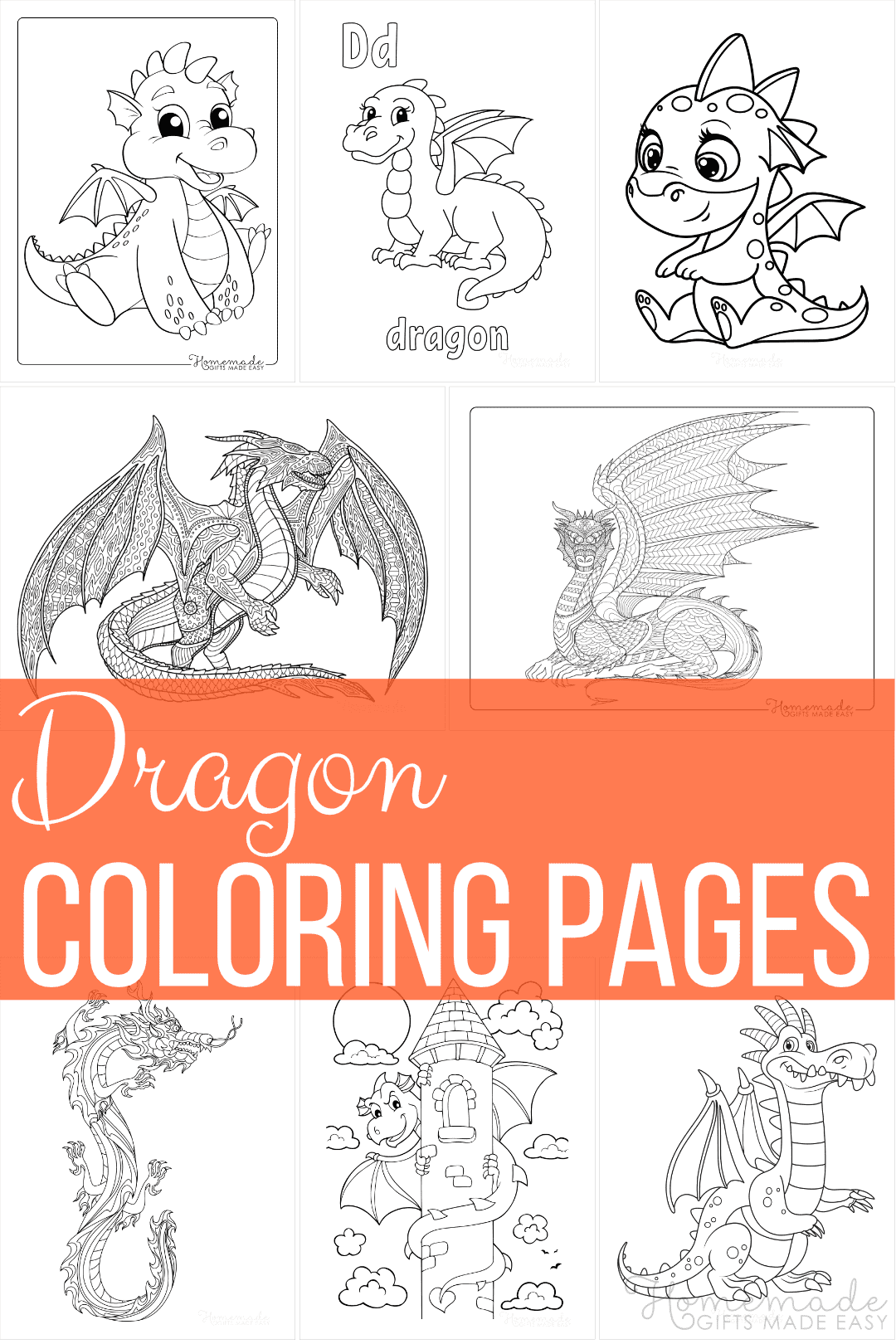 57 Dragon Coloring Pages Free Printables For Kids Adults