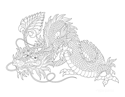 Dragon Coloring Pages Patterned Chinese Fire Dragon for Adults