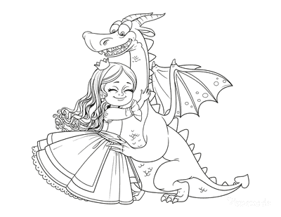 Dragon Coloring Pages Princess Hugging Dragon Cute