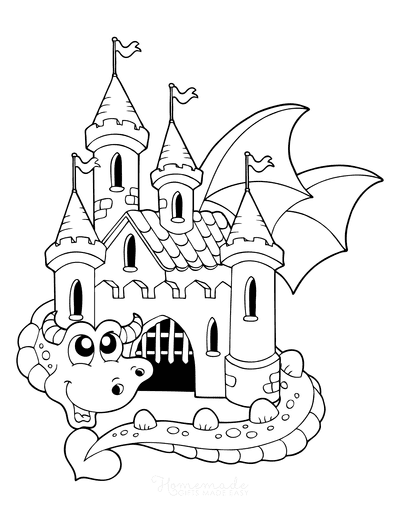 Dragon Coloring Pages Protecting Castle