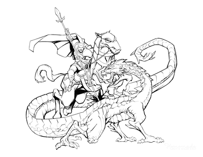 Dragon Coloring Pages Saint George Slaying Dragon