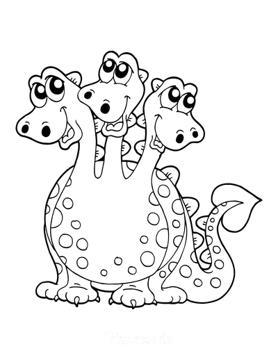 Dragon Coloring Pages Three Headed Cartoon
