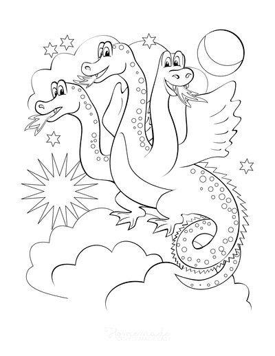Dragon Coloring Pages Three Headed Dragon Flying at Night