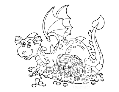 Dragon Coloring Pages Treasure Chest