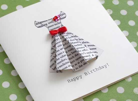 Book print dress card template for 3d christmas cards to make at home