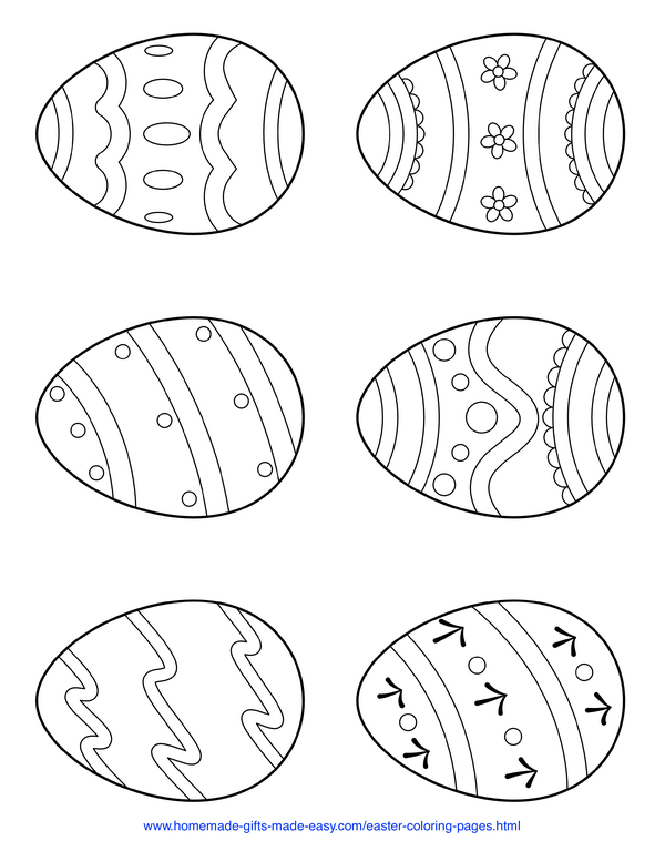 Easter Coloring Pages - 6 simple patterned eggs page 1