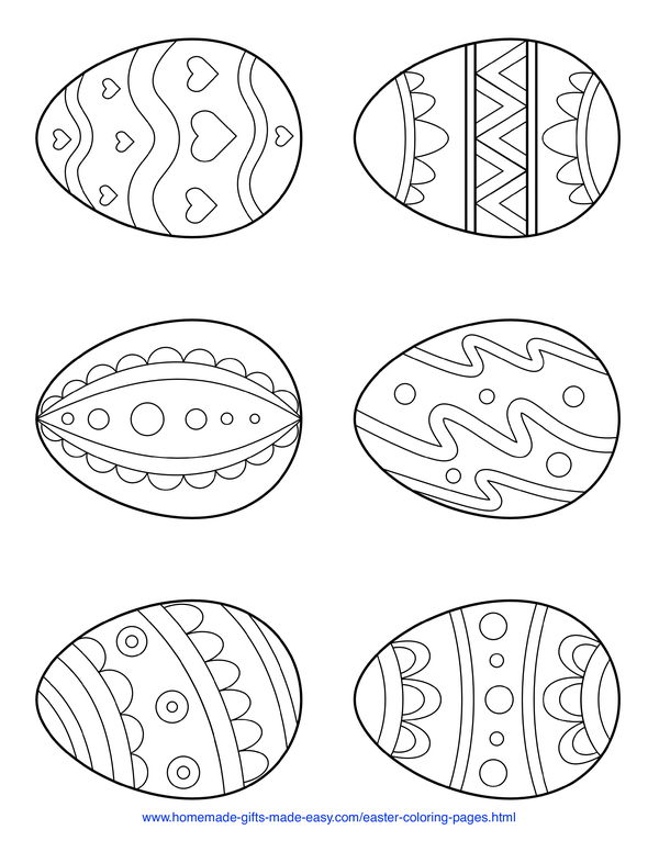 Easter Coloring Pages - 6 simple patterned eggs page 2