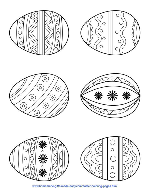 Easter Coloring Pages - 6 simple patterned eggs page 3