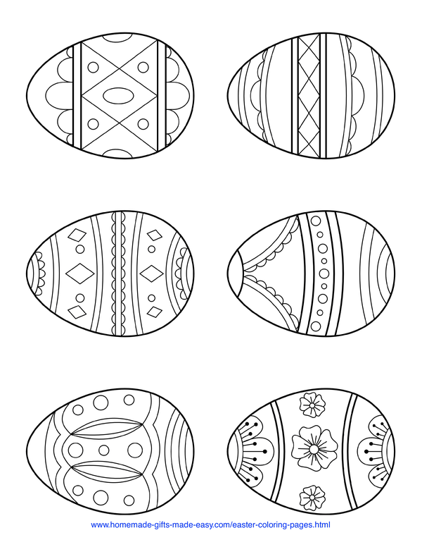 Easter Coloring Pages - 6 simple patterned eggs page 4