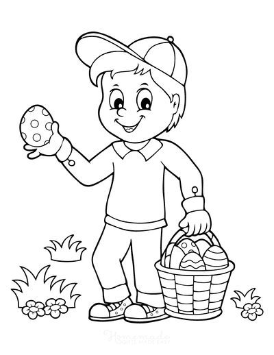 Easter Coloring Pages Boy Collecting Eggs