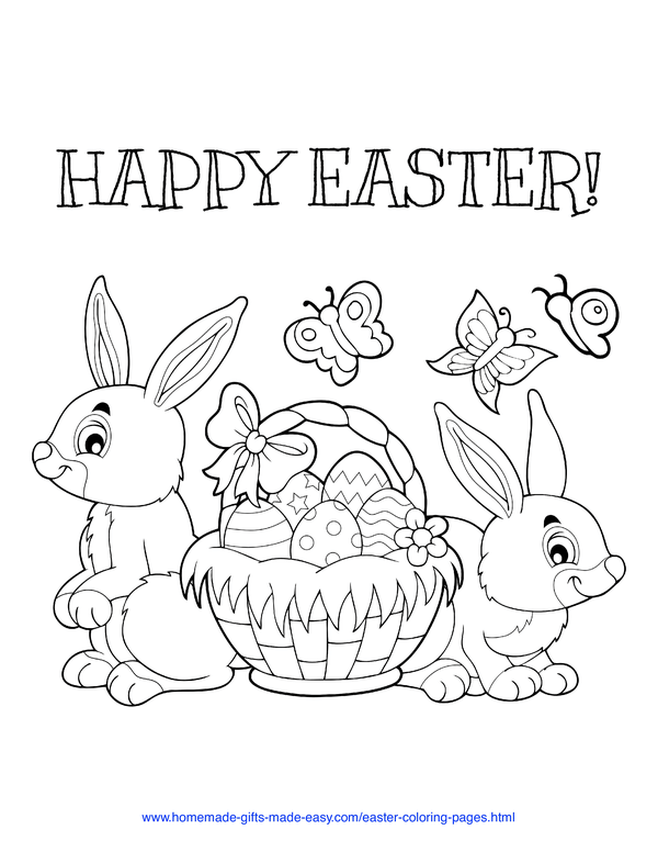 Easter Coloring Pages - egg-filled basket with butterflies and bunnies