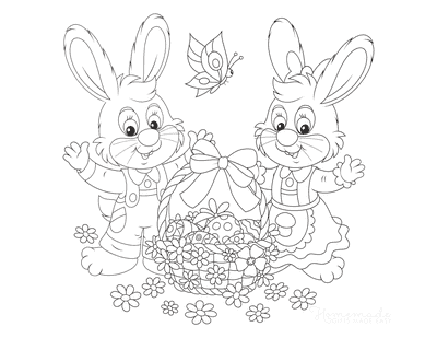 Easter Coloring Pages Bunnies Eggs Flowers