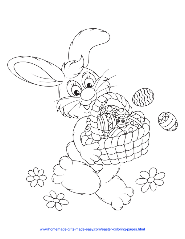 Easter Coloring Pages - bunny with basket of eggs