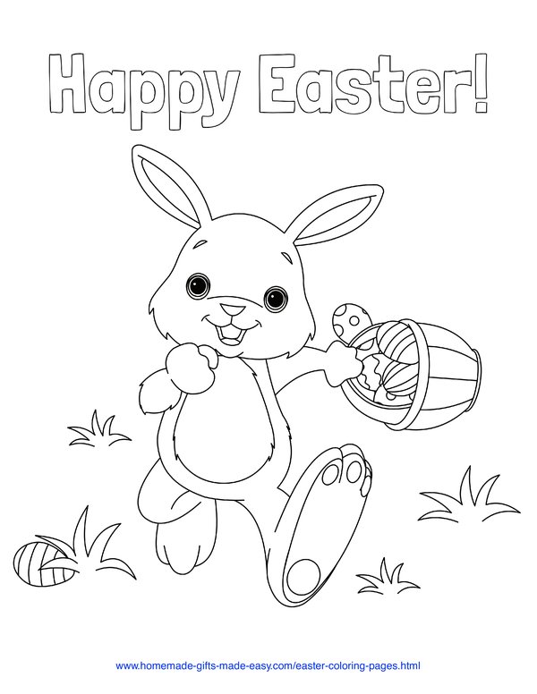 Easter Coloring Pages - Easter bunny hiding eggs