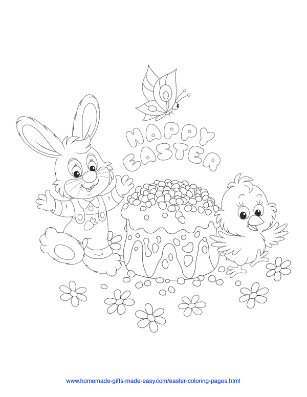Easter Coloring Pages - bunny and chick with cake, flowers, and butterflies
