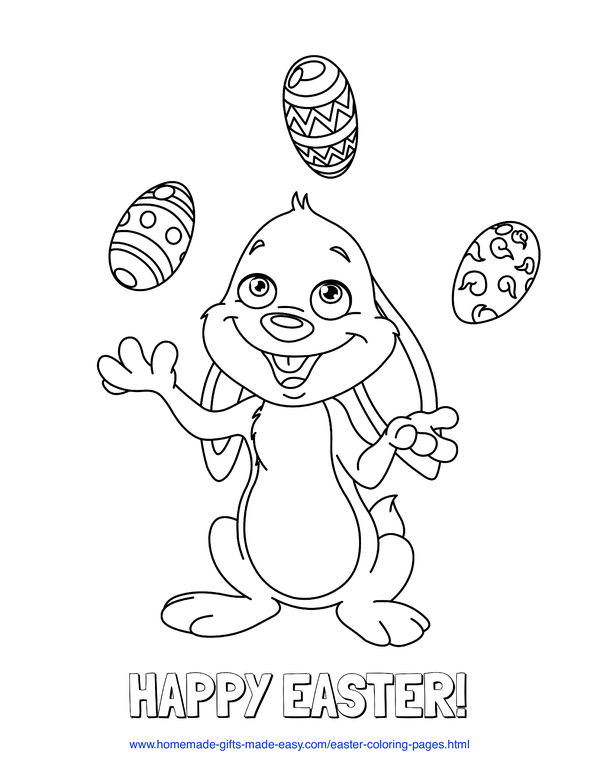 Easter Coloring Pages - bunny juggling patterned eggs