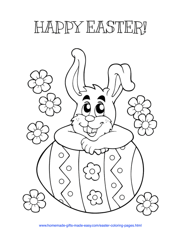 Easter Coloring Pages - bunny leaning on Easter egg