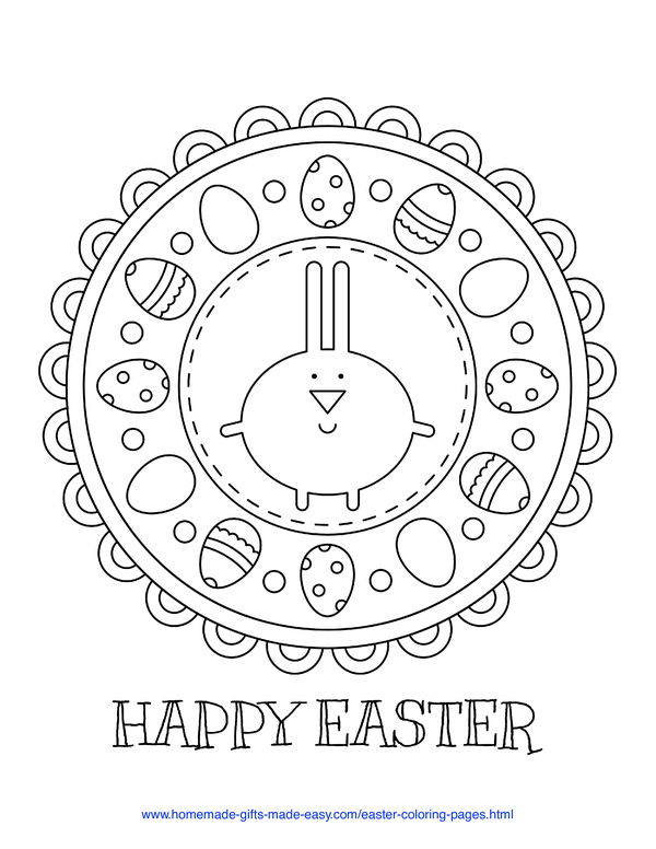 Easter Coloring Pages - bunny and Easter egg mandala