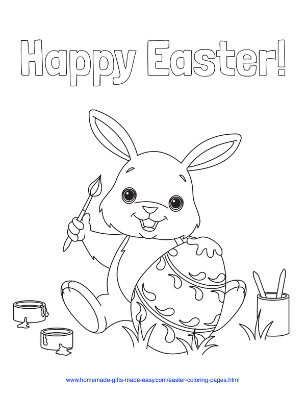 Easter Coloring Pages - bunny painting Easter egg