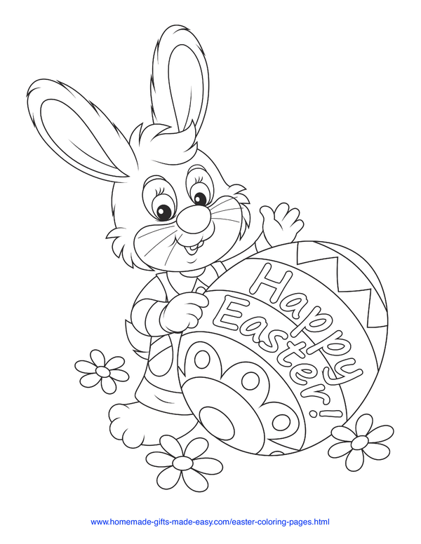 Easter Coloring Pages - bunny with Happy Easter patterned egg