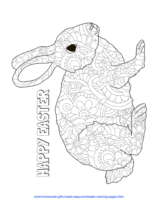 Easter Coloring Pages - intricate rabbit doodle adult coloring