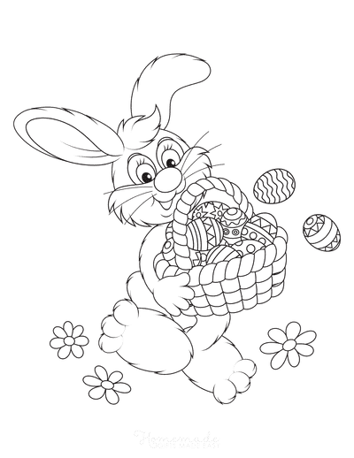 Easter Coloring Pages Bunny With Basket of Eggs