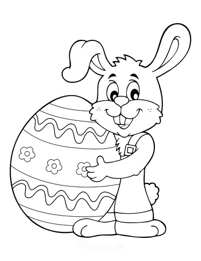 Easter Coloring Pages Cartoon Bunny Egg Preschoolers