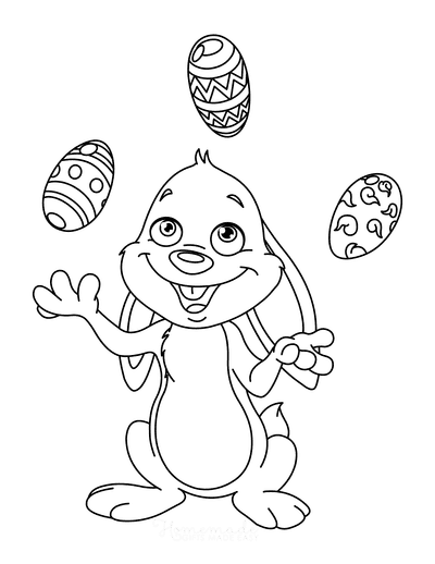 Easter Coloring Pages Cartoon Bunny Juggling Eggs