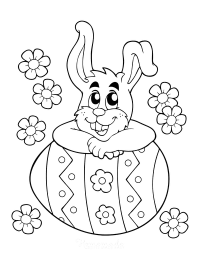 Easter Coloring Pages Cartoon Bunny With Patterned Egg