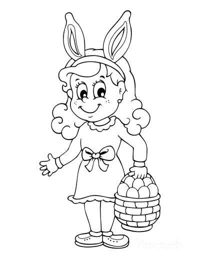 Easter Coloring Pages Cartoon Girl Bunny Ears Eggs