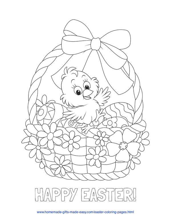 Easter Coloring Pages - chick with basket of eggs and flowers