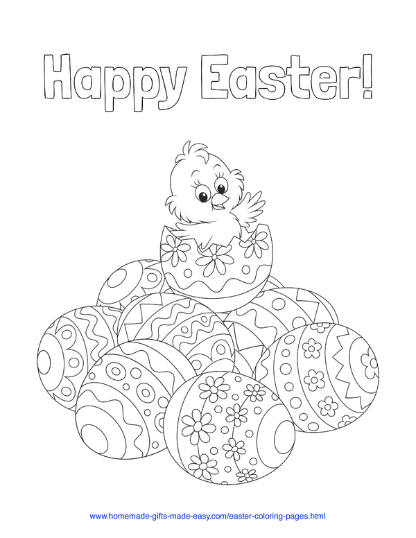 Easter Coloring Pages - cute chick on a pile of patterned eggs